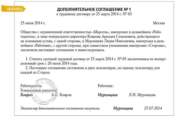 Дополнительное соглашение к трудовому договору о продлении срока